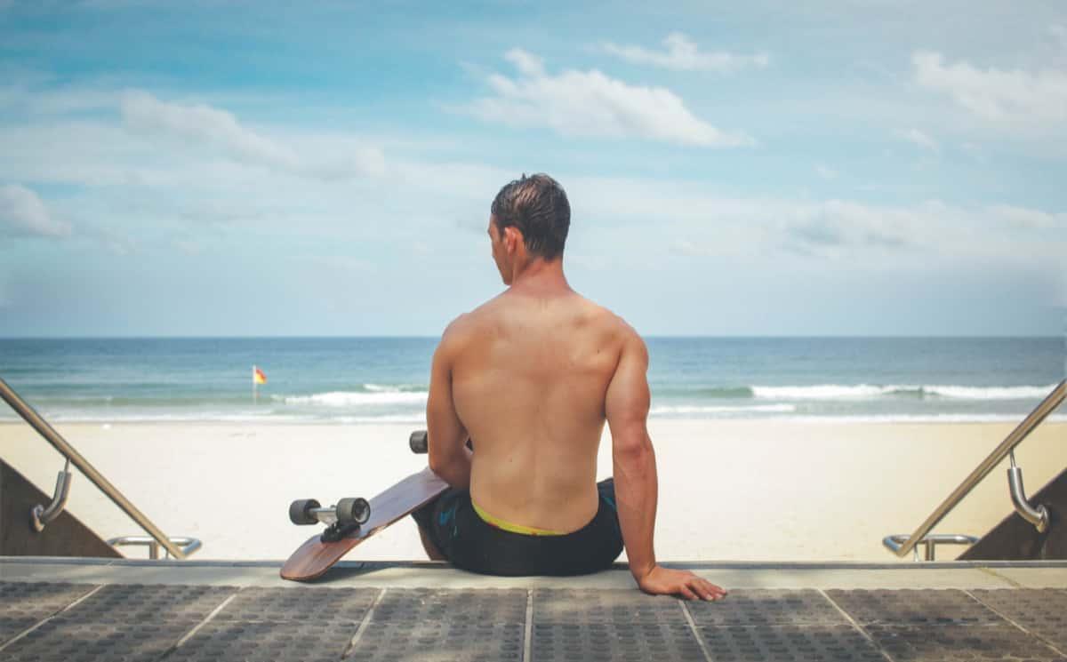 Man Skateboard Beach Healthly